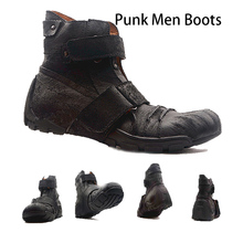 Individuality Punk Men Boots Genuine Leather Boots Black Martin Boots Dr Motorcycle Boots Men Riding Boots Work & Safety Boots military men boots 2019 punk work boots riding boots cowboy boots metal gothic riding boots male shoes motorcycle knight boots