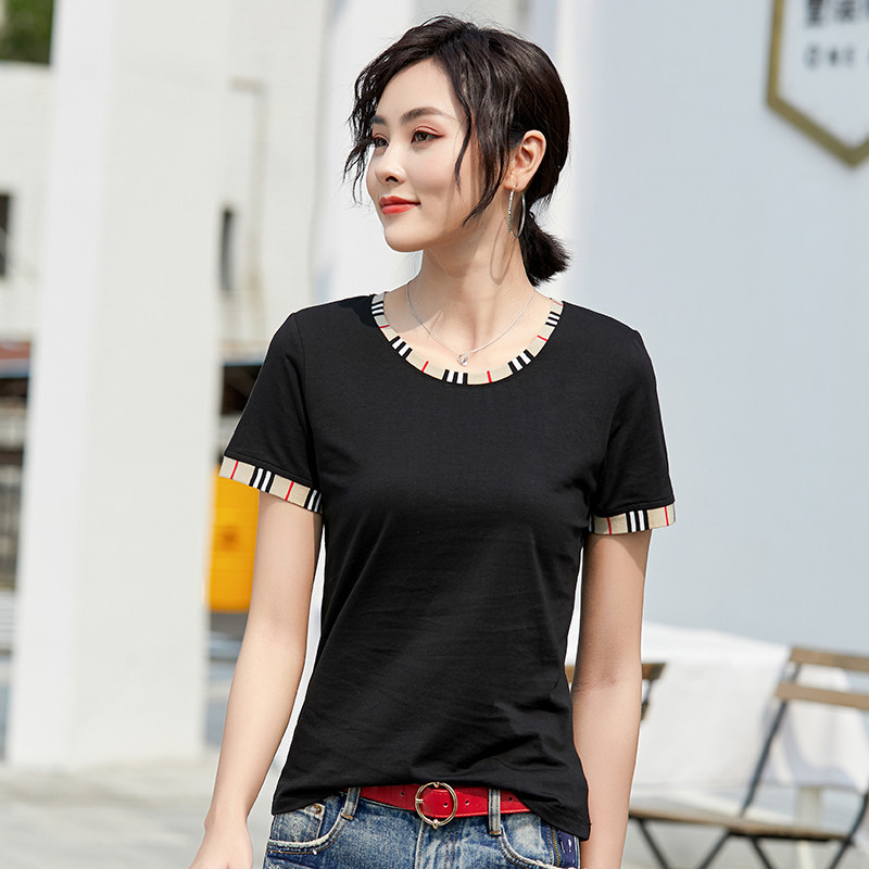 New 2020 Short Sleeve T-shirt Women's Korean Style Popular Round Neck Stitching Slim Simple Top Women Clothes Tee Shirt Femme