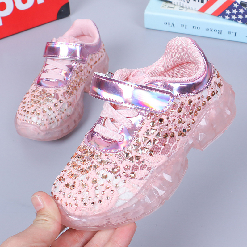 Shoes For Kids Casual Shoes Girls Bud Silk Cloth Sneakers Girls Wild Floor Breathable Princess Shoes
