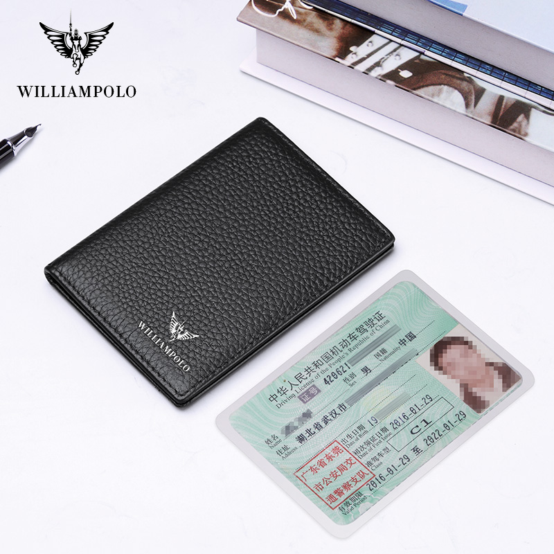 Wallet male Slim Genuine Leather Fashion New Year Gift Short Wallet for Card Holders Mini Purse Black PL185165 wallet