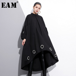 [EAM] 2021 New Spring Round Neck Long Sleeve Solid Color Black Metal Ring Big Size Hollow Out Dress Women Fashion Tide JE29201