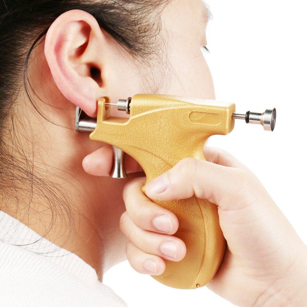 Professional Universal Ear Piercing Gun Ear Piercing Instrumen Silver Gold Birthstone Gem Ear Lip Helix Stud Earring Jewelry