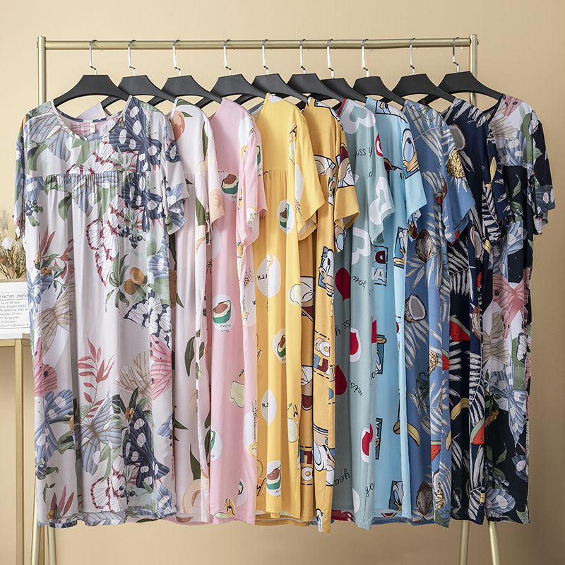 Women Printing Nightgowns and Sleepshirts Sleepwear Cute Loose Sleep Shirt Printed Night Dress Short Sleeve  Plus Size Nightwear