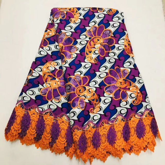 Beautiful Soft African Ankara Wax Cord Lace Fabric High Quality Cotton Embroidery Dutch Print Ankara Lace Wax Pange Materials