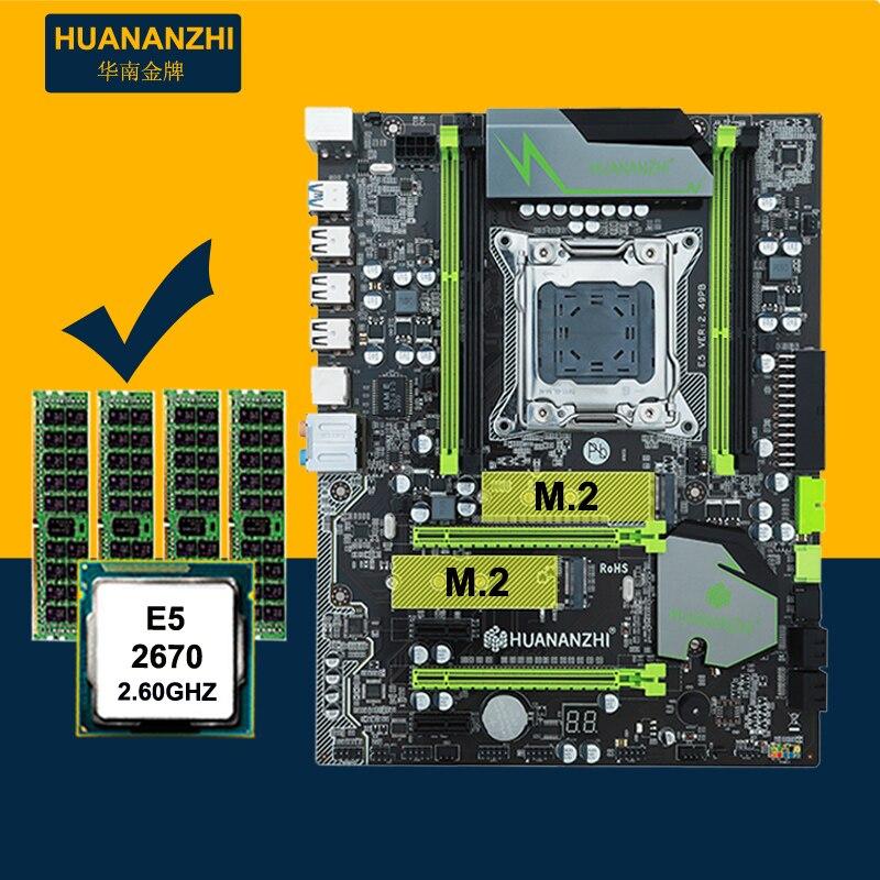 Computadora marca de bricolaje HUANAN ZHI descuento X79 Placa base con M.2 ranura CPU Intel Xeon E5 2670 C2 2,6 GHz RAM 32G (4*8G) 1600 RECC