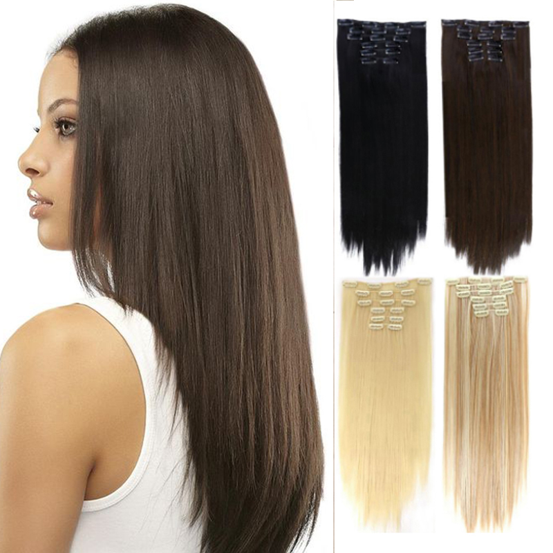 MANWEI Long Straight Synthetic Hair Extensions Clips in High Temperature Fiber Black Blonde Hairpiece hairHeat Resista