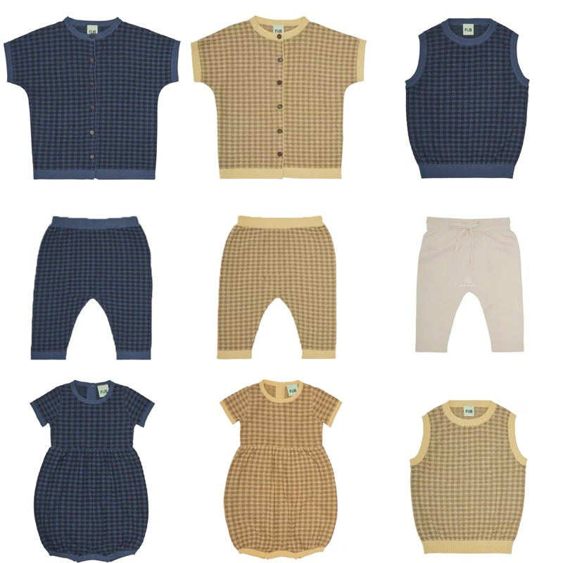 Spring Summer Shorts Sleeve Sweaters Newborn FUB Brand Kids Boys Girls Breathable Plaid Knitted Clothes Infant Cardigan Tops