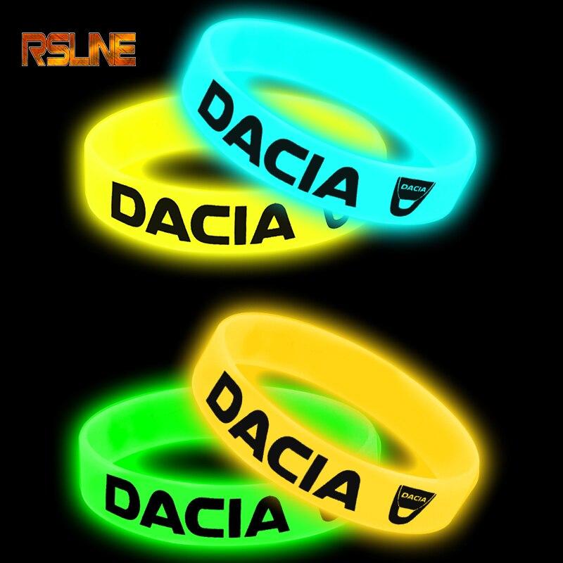 Luminous Car Badge Silicone Holographic Bracelet Sport Wristband For Dacia Duster Logan 2 Mcv Sandero Stepway Car Accessories