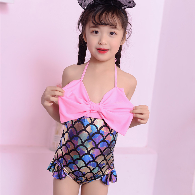 New Style Children One-piece Swimwear Korean-style Cute Mermaid Hipster Swimsuit With Shoulder Straps Holiday Hot Springs Beach