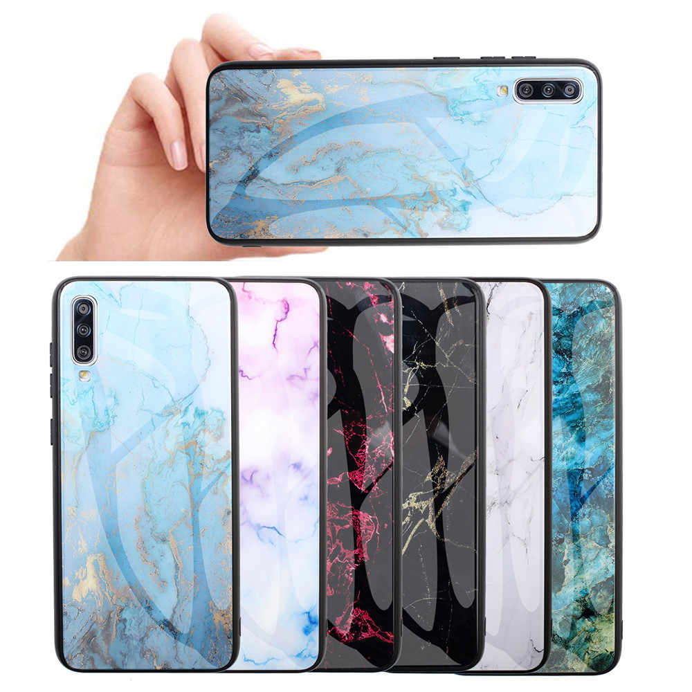 Marmer Tempered Glass Case untuk Samsung Galaxy S8 S9 S10 Plus Note 8 9 10 A7 2018 Gradien Penutup samsung A50 A40 A30 A70 Kasus