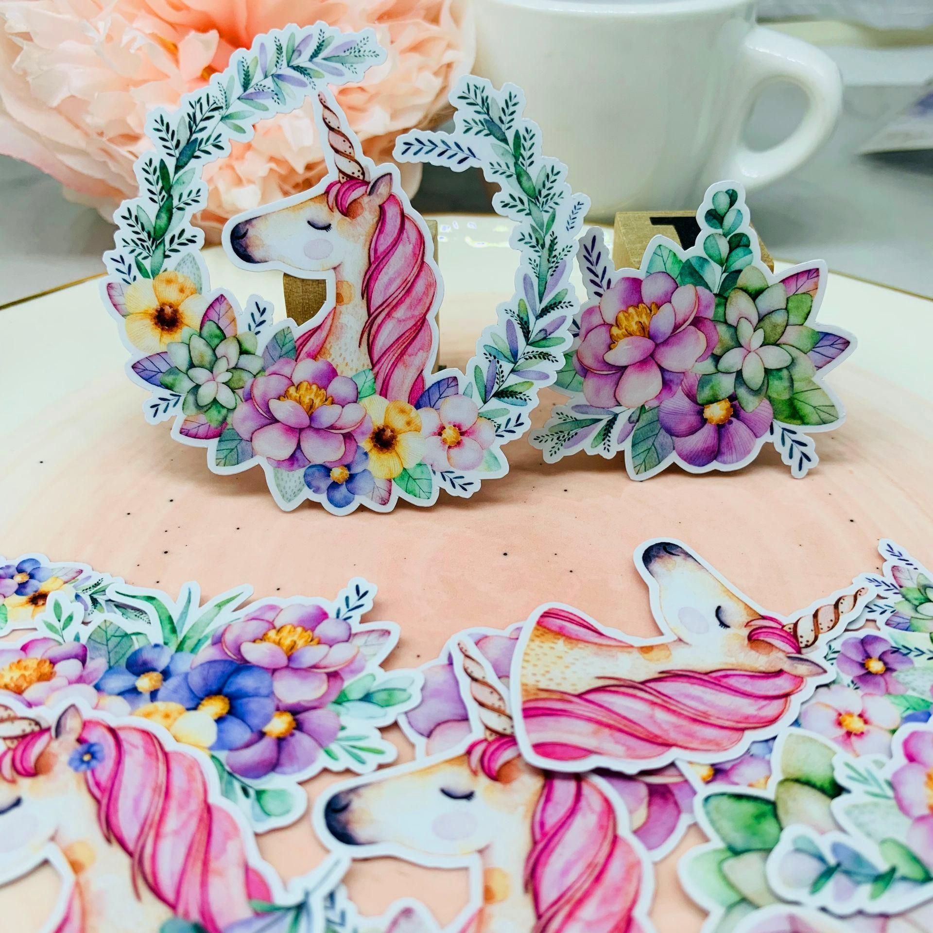 32 Pcs Flower Unicorn Sticker For Kid Homemade Book Stickers On Laptop / Decorative Scrapbooking