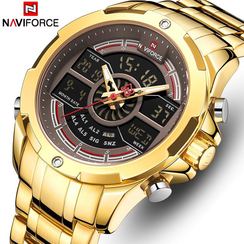New NAVIFORCE Gold Men Watch Top Luxury Brand Waterproof Quartz Men's Wristwatches Sports Digital Male Clock Relogio Masculino