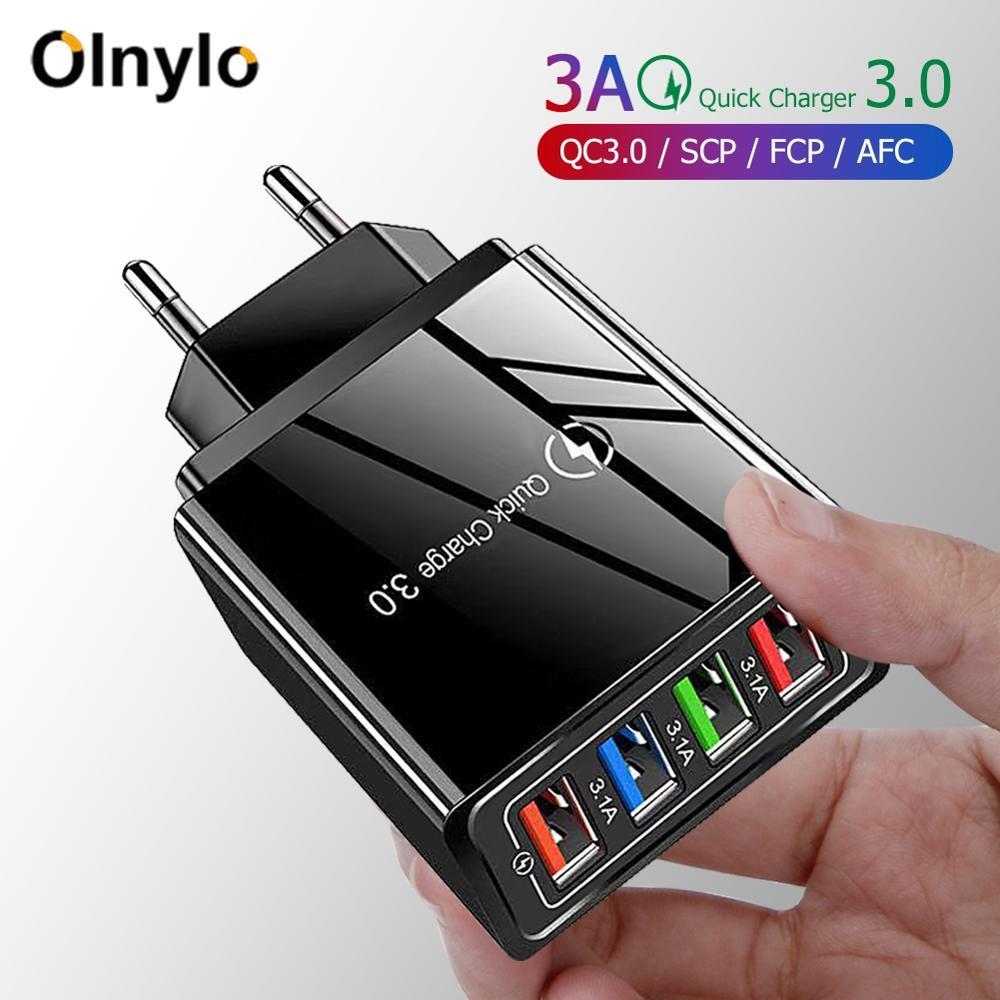 Сетевое зарядное устройство с 4 USB-портами и поддержкой быстрой зарядки, 3,0