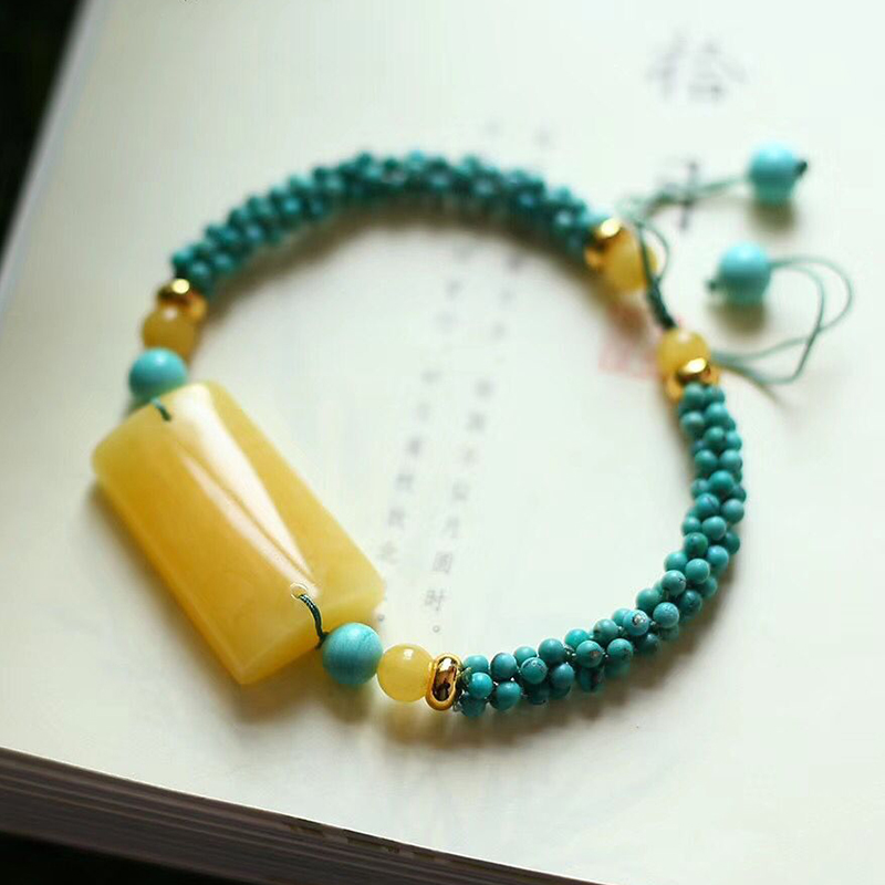 Fine JoursNeige Hand Woven Bracelets Blue Beads with Yellow Natural Stone Bracelets for Women Men Classic Fashion Jewelry - 3