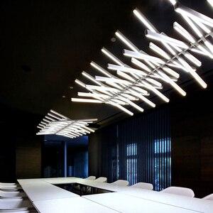 Image 2 - أسود/أبيض قلادة LED ضوء لغرفة المعيشة الطعام المنزل ديكو هيكل السمكة مصباح الحديثة الإبداعية الألومنيوم معلقة مصابيح AC90V   260 فولت