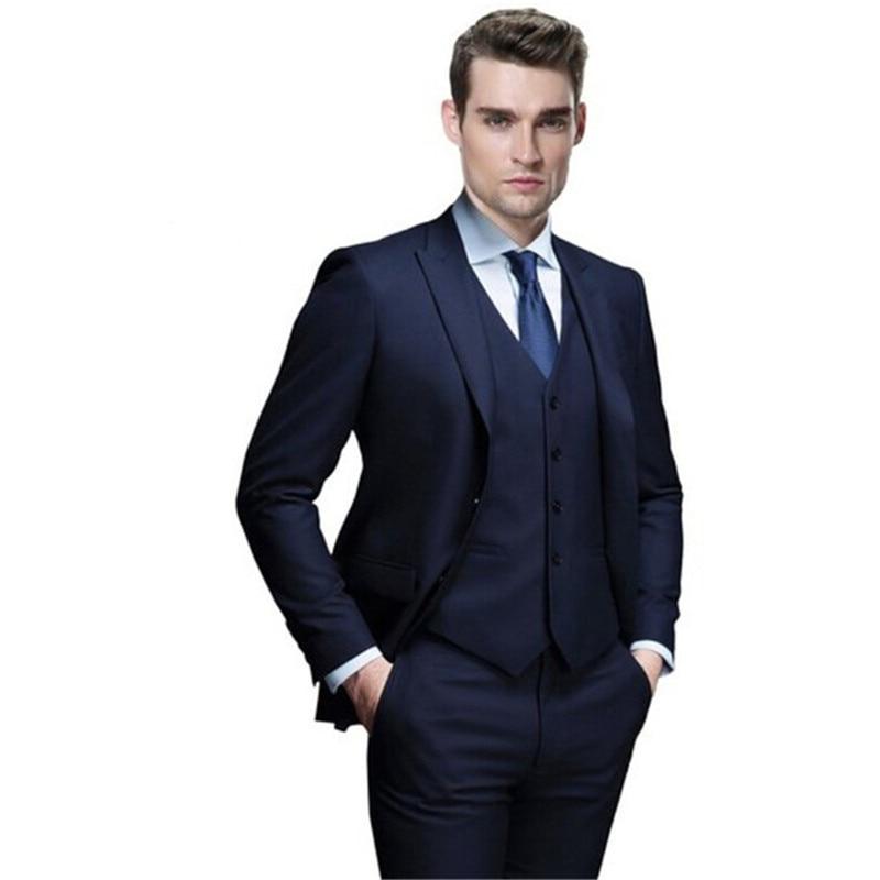 Mens Suits (Jacket+Pants+vest) mens suits Men's 3 Pieces Wedding Event Party Groom Latest Pure Color Men Formal Occasion Tuxedos