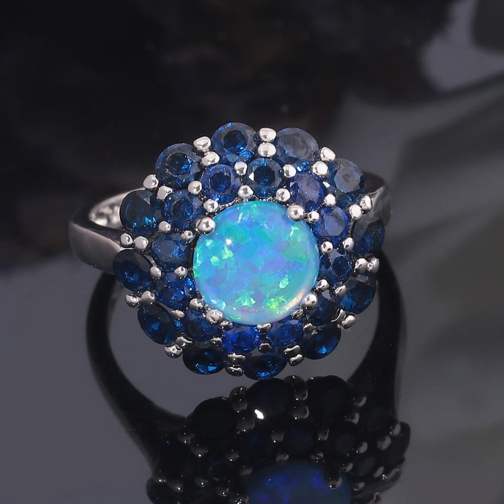 CiNily Oluşturulan Mavi Ateş Opal Mavi Zirkon Gümüş Kaplama - Kostüm mücevherat - Fotoğraf 3