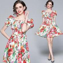 Verão doce puff manga flor vestido de pista senhoras designer sexy cintura elástica magro férias formatura escritório graciosa roupas femininas
