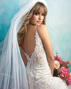 Image 5 - 2020 New Arrive Gelinlik Spaghetti Straps V neck Backless Beading Appliques Lace Sexy Mermaid Wedding Dress Vestido Noiva Sereia