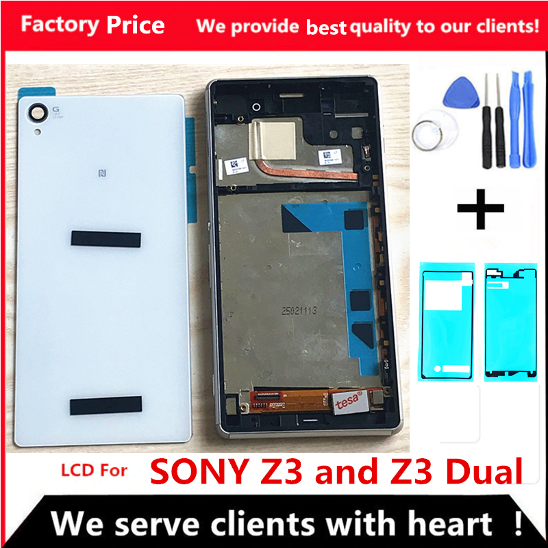 5.2'' LCD For <font><b>SONY</b></font> Xperia <font><b>Z3</b></font> Display Touch Screen <font><b>D6603</b></font> D6653 Replacement LCD for <font><b>SONY</b></font> <font><b>Z3</b></font> Dual D6633 D6683 With Frame back cover image