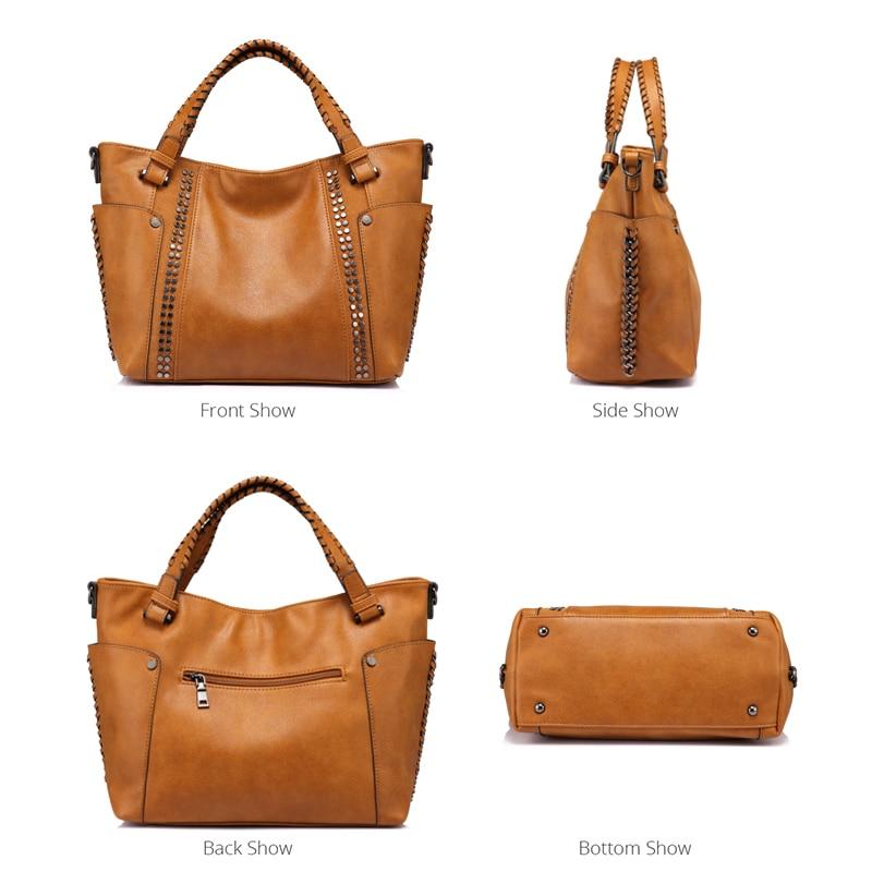 Image 4 - REALER women handbags female artificial leather totes ladies shoulder crossbody bag large messenger top handle bag rivets bucket-in Top-Handle Bags from Luggage & Bags