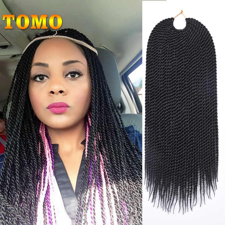 "TOMO Hair 30Roots 14"" 16"" 18"" 20"" 22""  Synthetic Crochet Twist Braiding Hair Extensions Senegalese Twist 18Colors 1Pack/Lot"