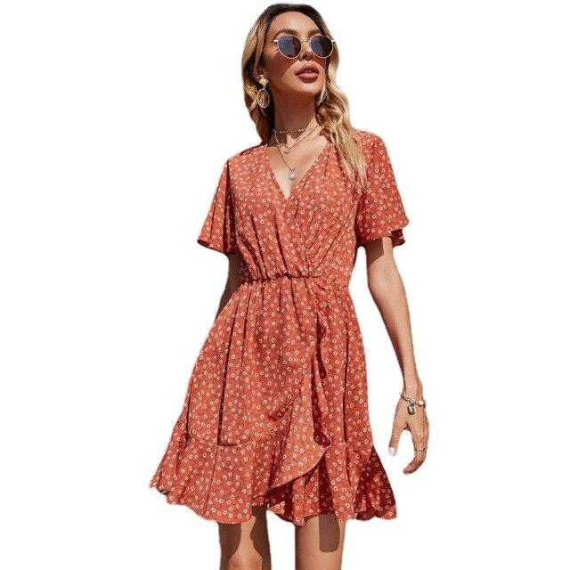 Vestido de fiesta de manga corta y cuello de pico para mujer, de estilo vintage vestido de fiesta, color Naranja, Zara-ing-style za 2020, sheining lolita kawaii Y2K 5
