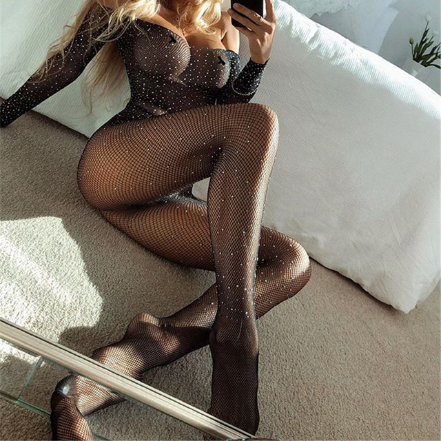 OMSJ Rhinestones Shining Fishnet Mesh Sheer Rompers Sexy Off-shoulder Long Sleeve Bodycon Jumpsuit Lady Night Club Outfits Black 3