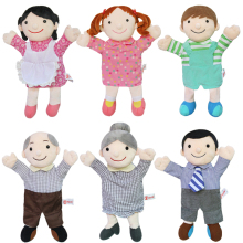 Plush Puppets soft grandpa Dad  family finger glove hand educational bed story learning Funny girls toys boys finger dolls