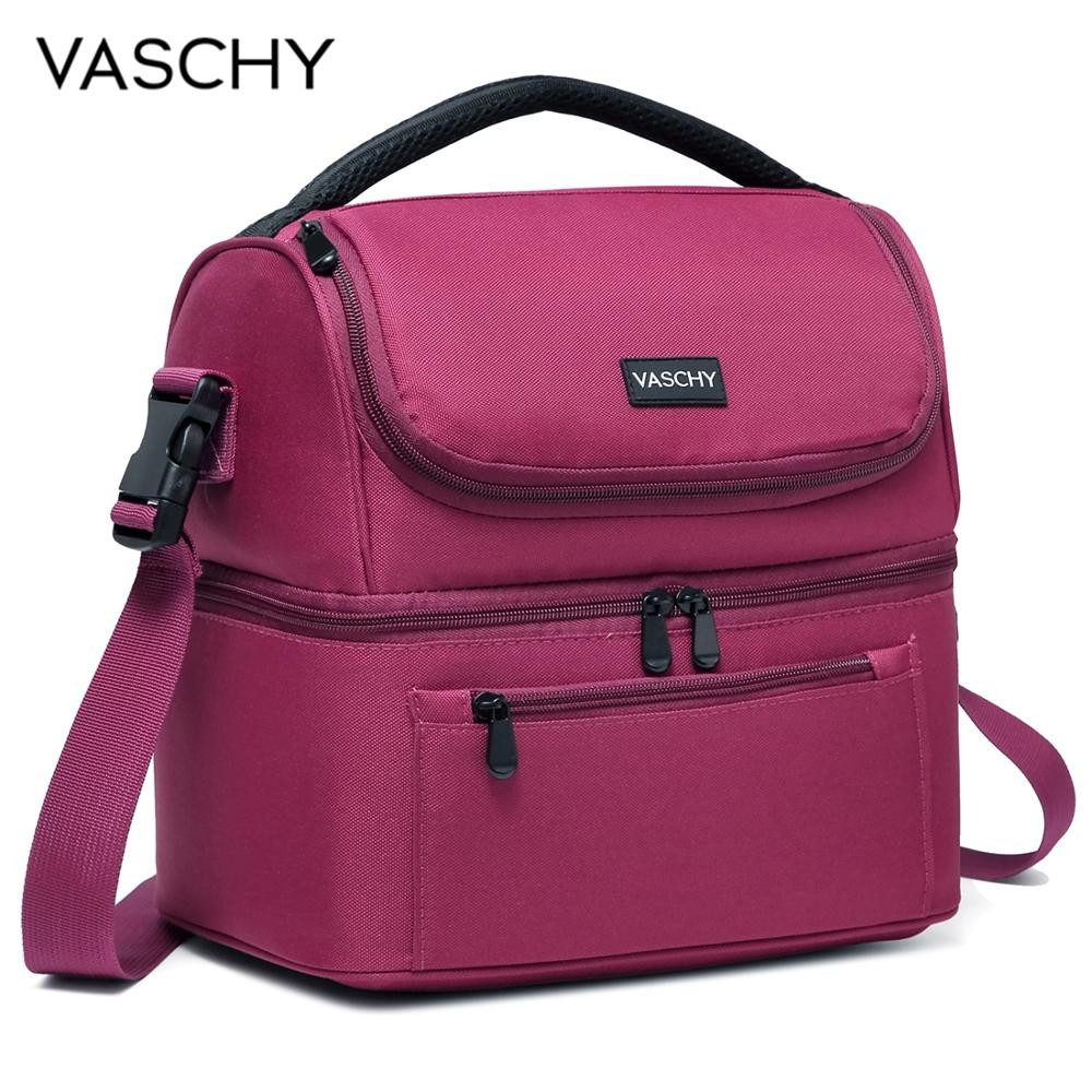 VASCHY Lunch Bag Insulated Lunch Cooler Bag Leak-proof In Dual Compartment Bento Bag For Women Men 14 Cans Picnic Bag Burgundy