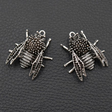 4pcs Horse Bee Metal Pendant, Insect Charms, 3D Modeling DIY Handmade Jewelry, lovers Gift, Tibetan Silver A2028
