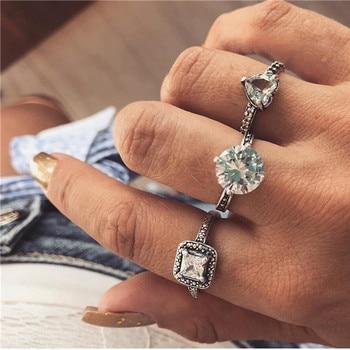 15 Pcs/set Women Fashion Rings Hearts Fatima Hands Virgin Mary Cross Leaf Hollow Geometric Crystal Ring Set Wedding Jewelry 19