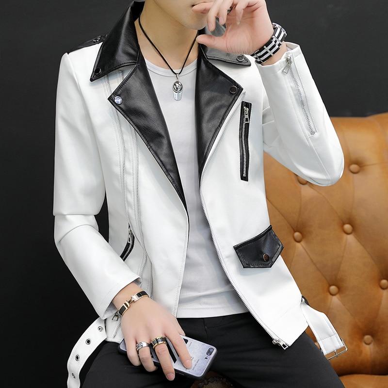 2019 New Design Motorcycle Bomber Leather Belt Jacket Men Autumn Turn-down Collar Slim Fit Male Leather Jacket Coats