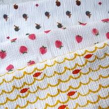 Zengia 135x50cm fruta morango abacaxi pêra duas camadas tecido de gaze algodão para diy crianças usar pano fazer cama colcha