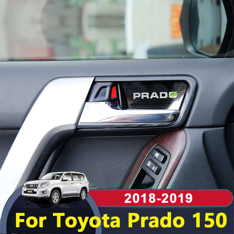 Stainless Steel Car Inner Door Bowl Covers Trims Sticker interior moulding For <font><b>Toyota</b></font> Land Cruiser Prado <font><b>150</b></font> 2010-2017 2018 2019 image
