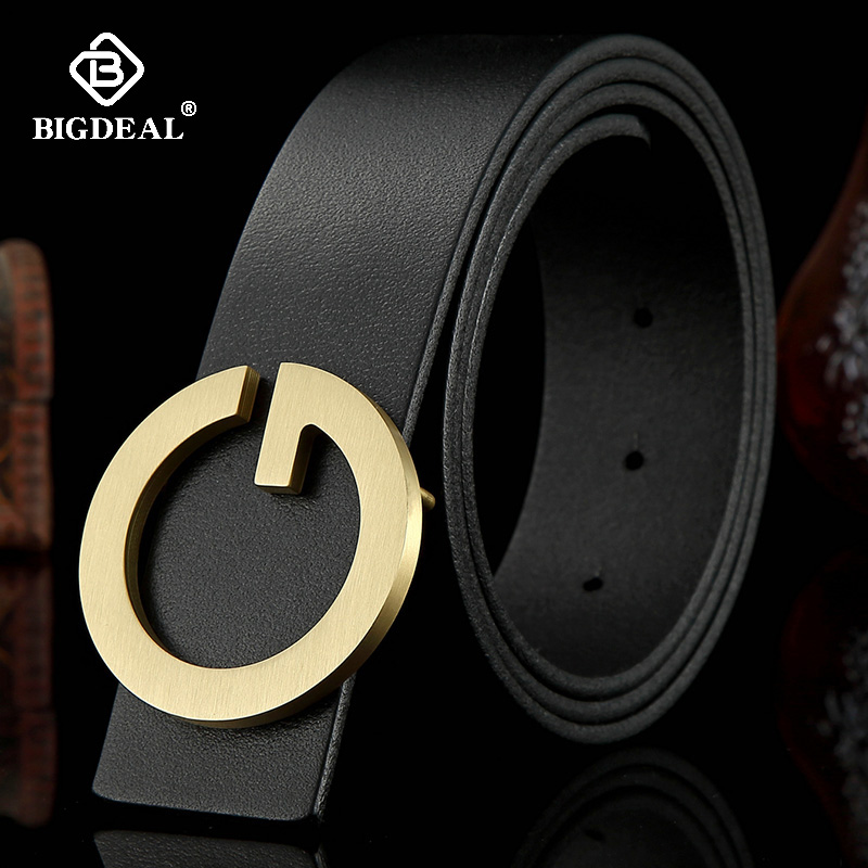 High Quality Men Genuine Leather Belt Fashion G Solid Brass Buckle Strap Belt Business Casual Belts for Men Male waistband