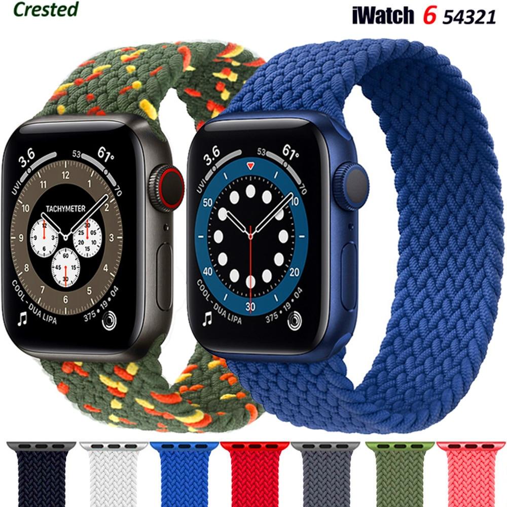 Geflochtene Solo Schleife Für Apple uhr band 44mm 40mm 38mm 42mm STOFF Nylon Elastische gürtel armband iWatch serie 3 4 5 se 6 strap