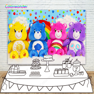 Carebears Backdrop Baby Shower Photo Background Colorful Sweetheart Rainbow Child Photography Backdrop For Birthday Party Banner(China)