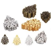 20 pçs atacado filigrana artesanato oco enfeites descobertas jóias acessórios ornamentos de tom bronze 35mm