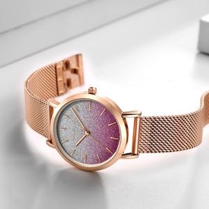 Image 5 - משלוח חינם Japanischen Bewegung מצב Farbe עיצוב אולטרה דק רשת להקה עמיד למים Armband גברות Armbanduhr Luxus דמן שעון