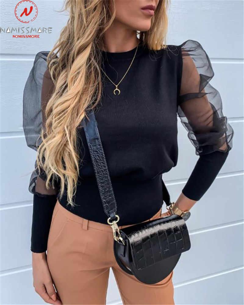 패션 여성 가을 겨울 t-셔츠 Streetwear 패치 워크 디자인에 대 한 o-넥 랜 턴 슬리브 솔리드 슬림 Pullovers 가기 통해 볼