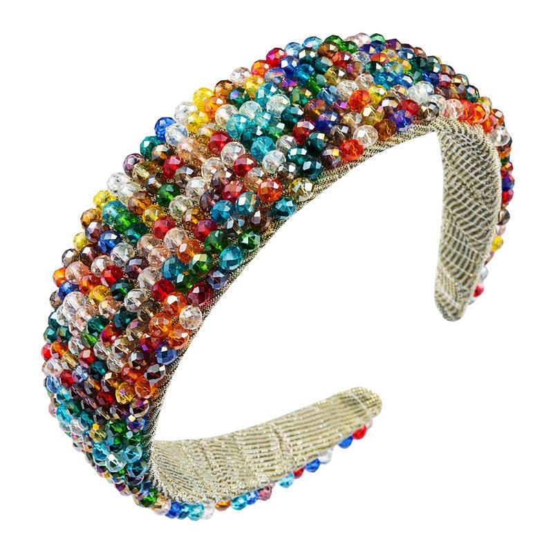 Женская повязка на голову в стиле барокко с цветными кристаллами, роскошные блестящие стразы, широкие ободки для волос, женские вечерние св...