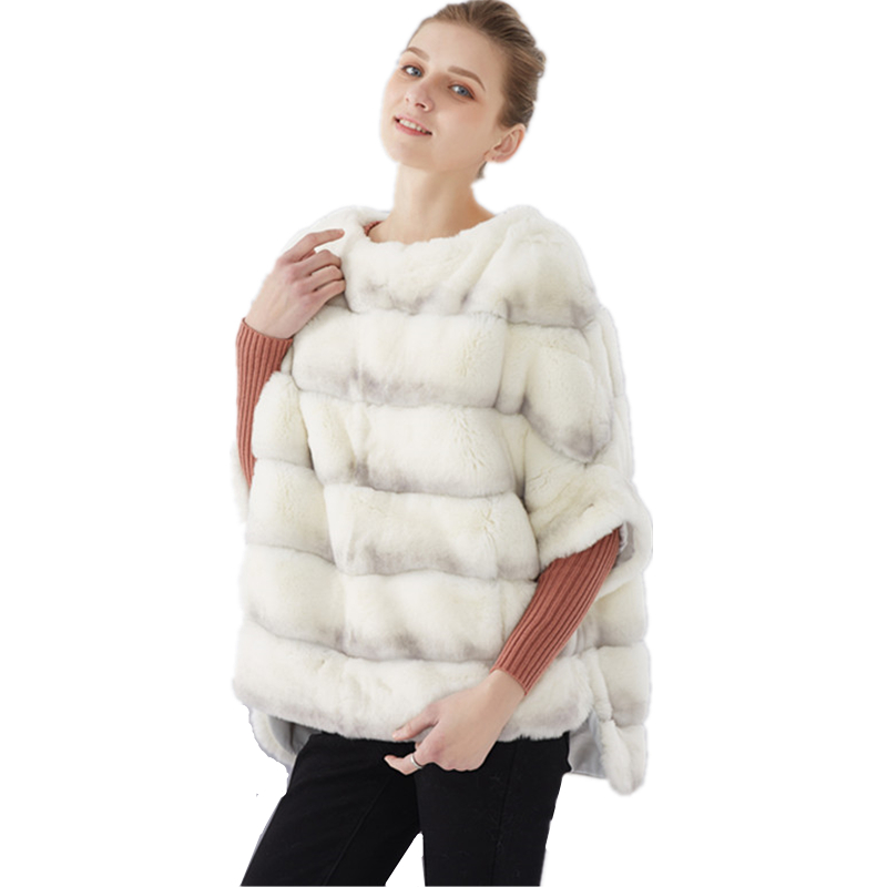 Real Fur Coat Batwing Sleeve Short Rabbit Fur Coat Women Rex Rabbit Fur Jacket