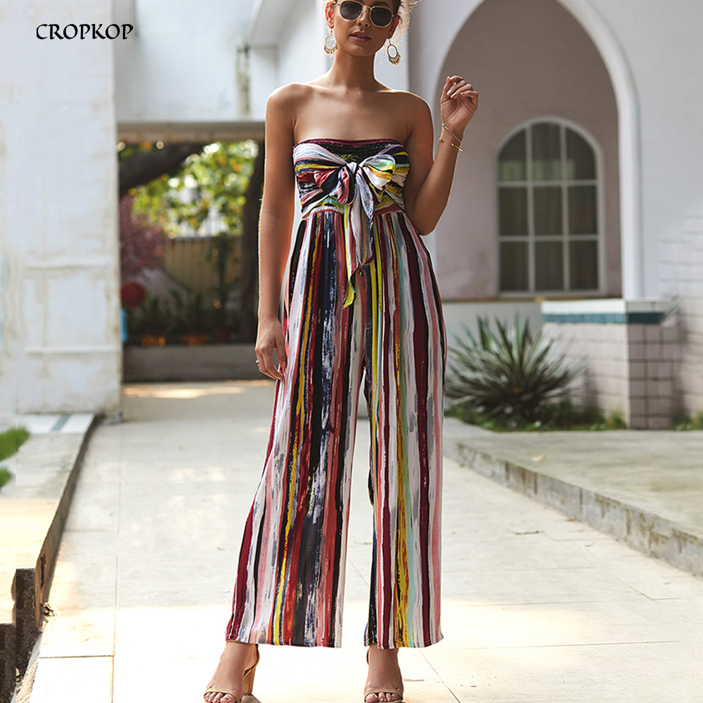 Tie Dye Rompers Wide Leg Jumpsuit Women Off The Shoulder Sexy Backless Summer Color Striped Bow One Piece Womens Clothing 2020