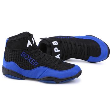 Męskie bokserskie buty zapaśnicze walki podnoszenie ciężarów buty męskie oddychające ścięgna na końcu boks treningowy buty bojowe tanie i dobre opinie Średnie (b m) RUBBER Profesjonalne Spring2019 Pasuje prawda na wymiar weź swój normalny rozmiar Lace-up YM0018 Mesh (air mesh)