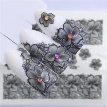 YZWLE лето кружевной Цветочный дизайн ногтей Наклейка переводная вода белый черный Типсы для женщин макияж татуировки