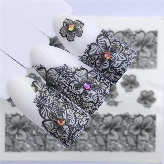 YZWLE 2020 קיץ חדש תחרה פרח עיצוב נייל מדבקת מדבקות העברת מים לבן שחור טיפים נשים איפור קעקועים