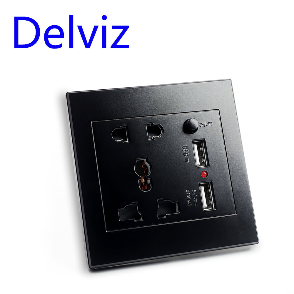 Delviz Multi function socket Switch control usb Overload protection Quick charge power 86 Black Universal panel Wall usb socket