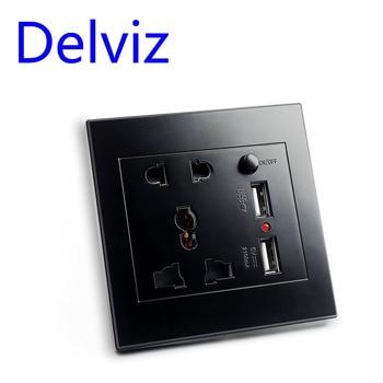 цена на Delviz Multi function socket, Switch control usb Overload protection Quick charge power 86 Black Universal panel Wall usb socket