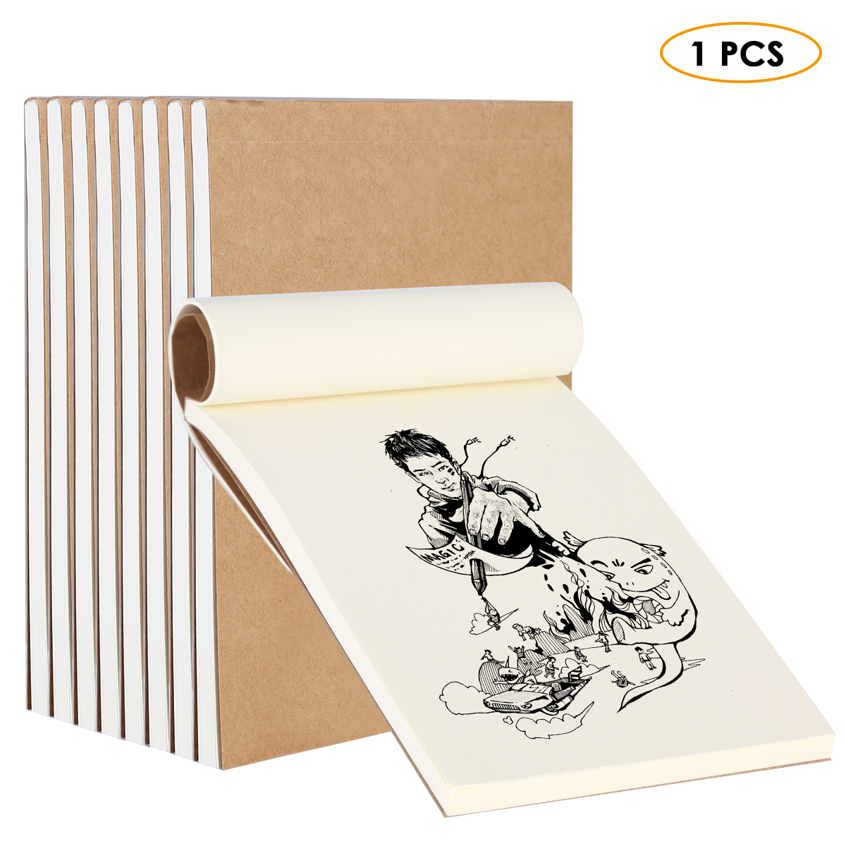 1Pc 80 Sheets Blank Flipbook Kraft Cover Drawing Sketchbook Thumb Flip Books For Animation Cartoon Creation